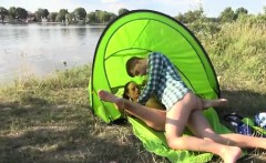 Vipissy teen lesbian Eveline getting pounded on camping site