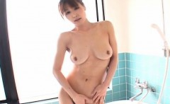Ai Kurosawa soaps her hairy cunt and big tits