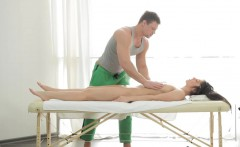 Tamara is a first-timer on our special massage table and