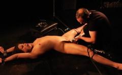 Slave fixed on the floor keen toys masturbated