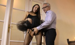 Euro Amateur In Tutu Pussyfucked By Old Guy