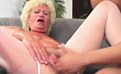 Hungry granny pussy pumped