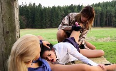 Glam lesbo licked outside