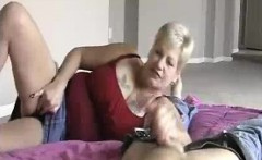 Granny's Handjob While Playing Wet Dripping Pussy