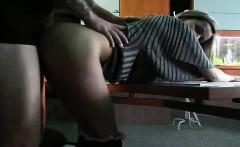 Ravishing secretary enjoys a deep drilling from behind in t