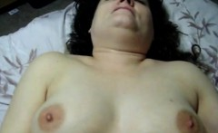 Fat lass rubs while getting poked