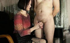 Enticing brunette housewife pleases her husband with a skil