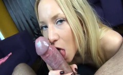 Beautiful blond provides a sexy language tease blowjob