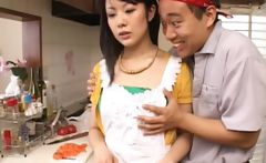 Asian brunette gets tits teased