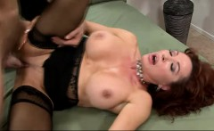Mature slut with large tits takes a rough pounding in her black stockings