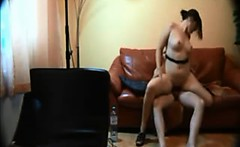 Shapely brunette gets her nice cunt bumped cowgirl-style ri