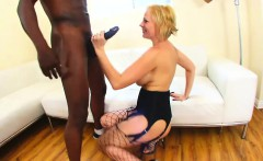 Voluptuous blonde cougar in lingerie takes a big black pole for a ride