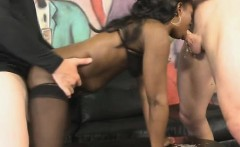 Black Trazcy Kush Has White Cock Rammed In Both Ends
