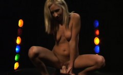 sexy blonde puts on her own show toying her twat and riding on one