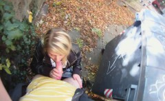 pretty blonde cocksucker gets fucked doggy style outdoors in a homemade sex video