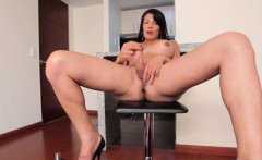 Latina tgirl beauty pulling her hard cock