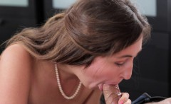 Beautiful babe sucks a long pole before riding it with great passion
