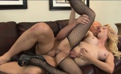 Big tits blond tranny Tyra Scott asshole fucked on the couch
