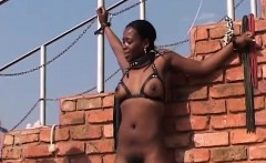 African slut gets tied up and has her pussy toyed with