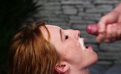 Hot looker gets sperm load on her face gulping all the ejacu
