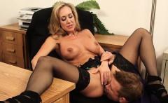 Big Tits Brunette MILF Boss Rides Young Cock Brandi Love