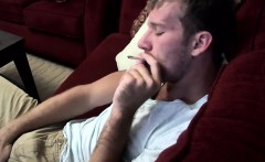 Sexy and cute Jake Parker smoking a cigar and stroking dick