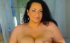 Sexy Curvy Huge Breast MILF Giving Dildo a Nic