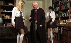 Mature dude bangs two horny schoolgirls