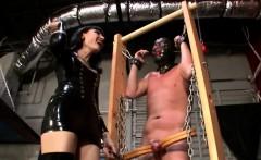 Nasty domina gives slave a ballbusting