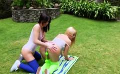 lesbian babes spread their deep ass holes and ream huge vibr