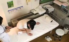 Pigtailed Oriental teen has her doctor examining her delici