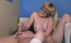 pigtailed spex teen toys pussy and wanks cock