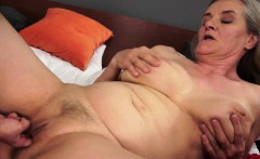 Busty lez granny fingered slowly by babe