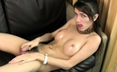 Hairy cock girl plays with her shecock until cummmy orgasm