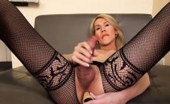 Fishnet lingerie tgirl in solo fuck