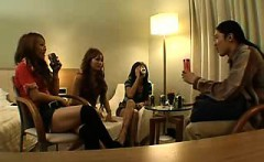 Seductive Japanese girls working their lips and hands on a