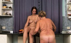 lez granny enjoys babes tongue in her pussy