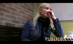 Innocent amateur blonde fucked in a public toilet for alot