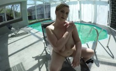 big breast Milf masturbating at the pool