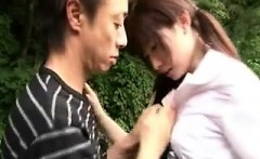Beautiful Japanese babe having fun with her boyfriend in th