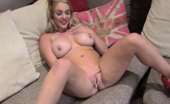 Huge boobs blonde in red shoes fucks in casting