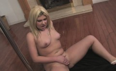 Pole dancing curvy blonde masturbates naked