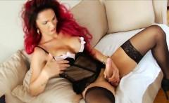 Busty Redhead Shemale Valentina Monsterdick Masturbates Cock