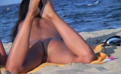 Amateur Voyeur NUDIST Couple - Back Shaved Pussy Beach Video