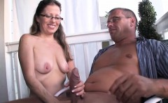 Amateur housewife jerking off hubby outdoors