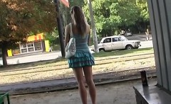 Naughty blonde teen flashes in public