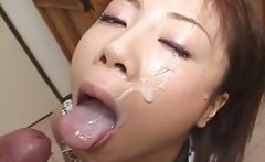 Asian hooker giving BJ gets facialized