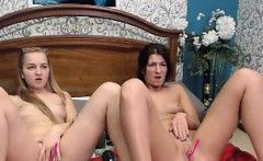 Blonde lesbian toying the beaver of a brunette