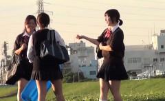 Teen asians pee outdoors
