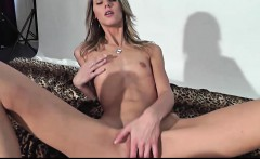skinny blonde takes it all in her mouth